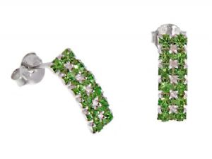 Small, Discreet Sterling Silver Peridot Green Crystal Curved Rectangle Stud Earrings